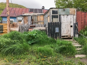 Старые деревянные дома на улицу Вилюйской. Петропавловск-Камчатский