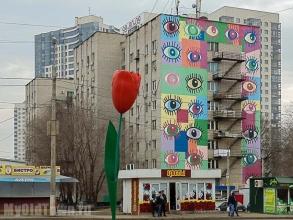 Художественная роспись ''Глазки'' и красный тюльпан на улице Хиросимы,  дом 14.  Фото Волгограда