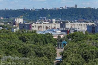 Главная аллея автозаводского парка и главный вход. Фото с высоты