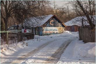 Картина на стене сарая. Улица Афанасьева. Нижний Новгород. Фото