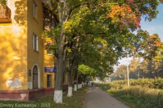 Осень в городе. Желтые дома и листья. Фото проспекта Молодежного