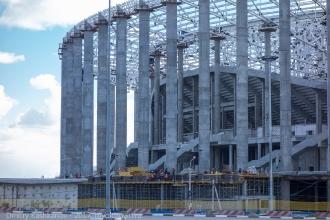 Строительство стадиона на Стрелке в Нижнем Новгороде. Стройплощадка