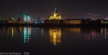 Собор Александра Невского в Нижнем Новгороде. Стрелка. Ночное фото
