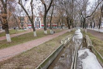 Ейск. Улица Портовая Аллея. Зимнее фото
