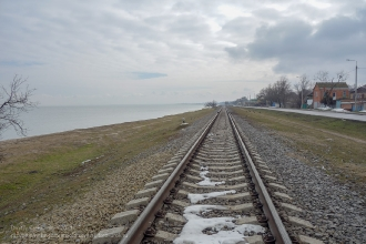 Ейск. Железная дорога. Азовское море. Зимнее фото
