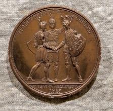 Копия медали из серии в честь победы русской армии над французскими захватчиками: «Тройственный союз»